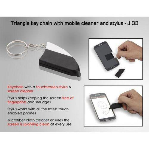 Triangle key chain with mobile cleaner and stylus