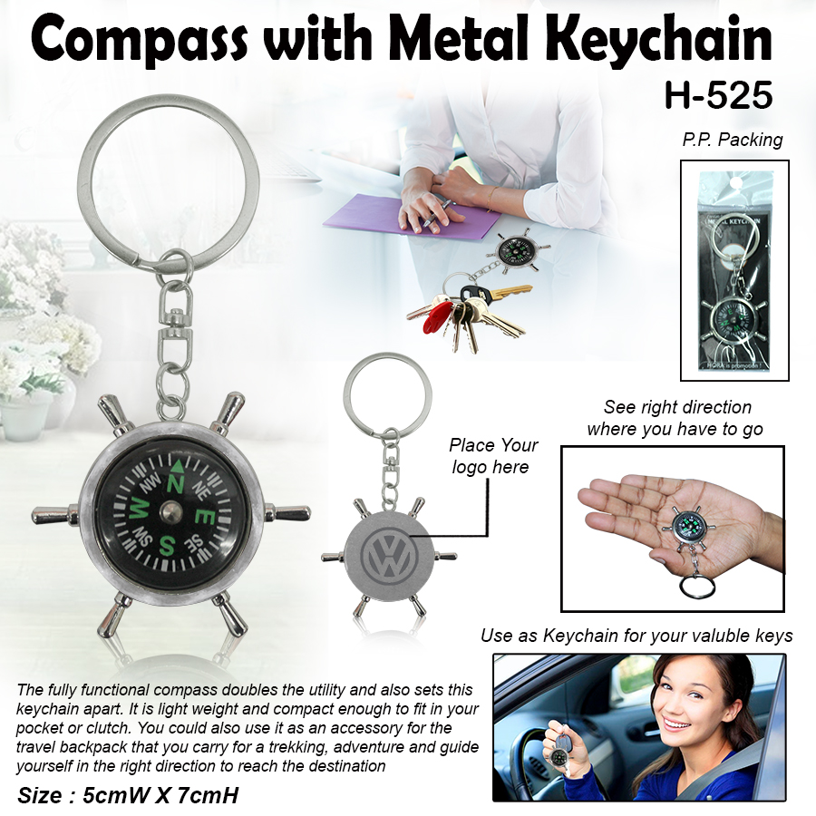 Silver Metal Compass with Keychain H-525