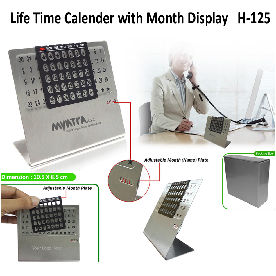 Life Time Calender with Month Display H-125