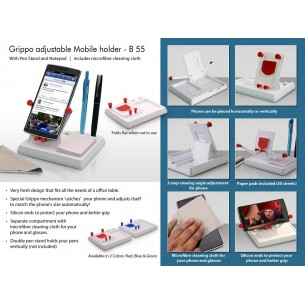 GRIPPO MOBILE HOLDER WITH ANGLE ADJUSTMENT, PEN STAND, AND NOTEPAD B55