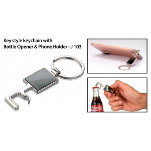 KEY STYLE KEYCHAIN WITH BOTTLE OPENER AND PHONE HOLDER J103