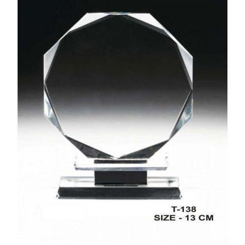 Round crystal trophy with diamond cut corner CT136