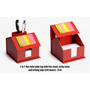 3 IN 1 HUT STYLE TABLE TOP WITH PEN STAND, STICKY NOTES AND WRITING SLIPS (250 SHEETS) B64