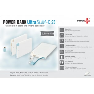 ULTRA SLIM POWER BANK (WITH BUILT-IN CABLE AND IPHONE CONNECTOR) (2,500 MAH) C23