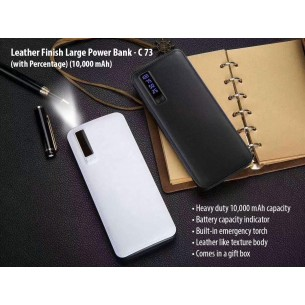 LEATHER FINISH LARGE POWER BANK WITH TORCH (WITH CAPACITY INDICATOR) (10,000 MAH) C73
