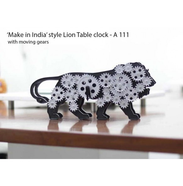 MAKE IN INDIA LION TABLE CLOCK WITH MOVING GEARS A111