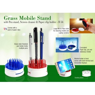 GRASS MOBILE STAND WITH PEN STAND, SCREEN CLEANER & PAPER CLIP HOLDER B54