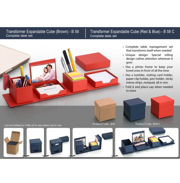 TRANSFORMER EXPANDABLE CUBE: COMPLETE DESK SET - RED / BLUE B58C