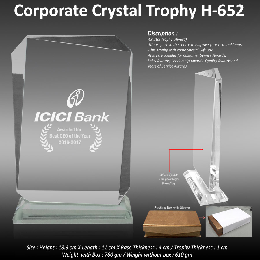 Corporate Crystal Trophy H-652