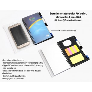 EXECUTIVE NOTEBOOK WITH PVC WALLET, STICKY NOTES & PEN (80 SHEETS) (CUSTOMIZABLE COVER) B68