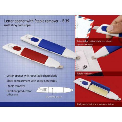 Letter opener with Staple remover and sticky note