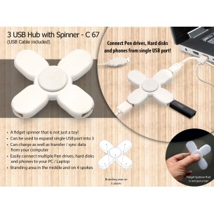 3 USB HUB WITH SPINNER (CABLE INCLUDED) C67