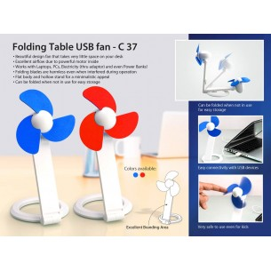 FOLDING TABLE USB FAN WITH SAFETY BLADES AND USB CABLE C37
