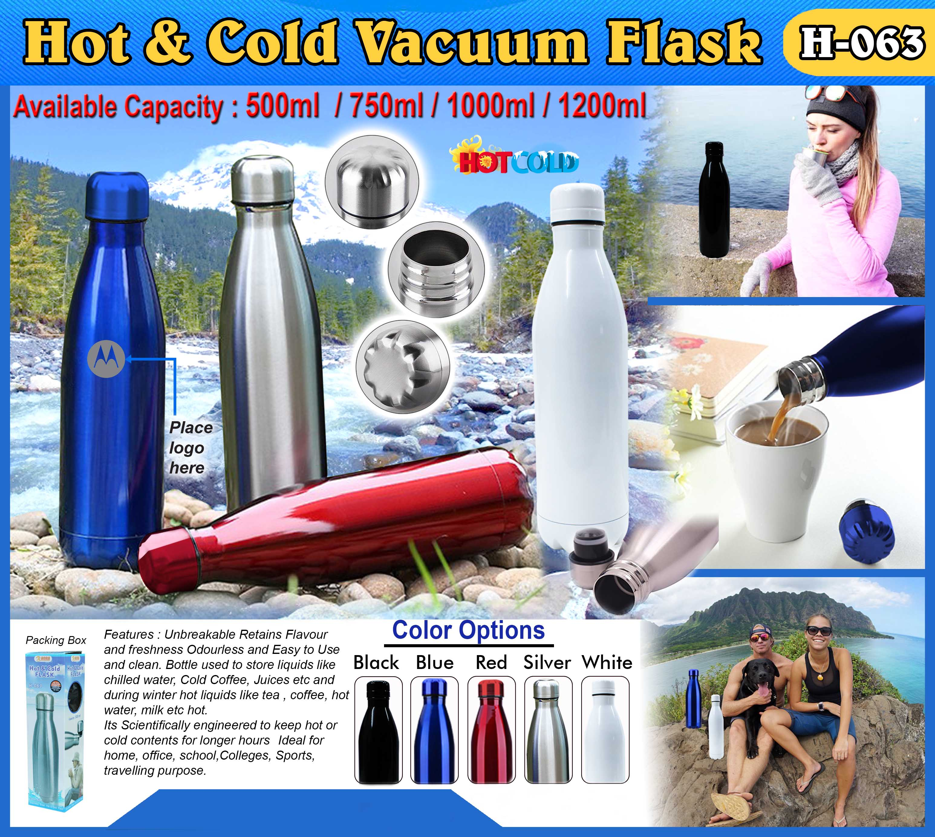 Hot & Cold Flask Bottle H-063 (750ML)