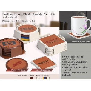 LEATHER FINISH PLASTIC COASTER SET OF 4 WITH STAND (ROUND) E194