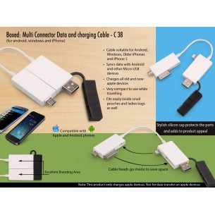 BOXED: MULTI CONNECTOR DATA AND CHARGING CABLE (FOR ANDROID, WINDOWS AND IPHONE) C38