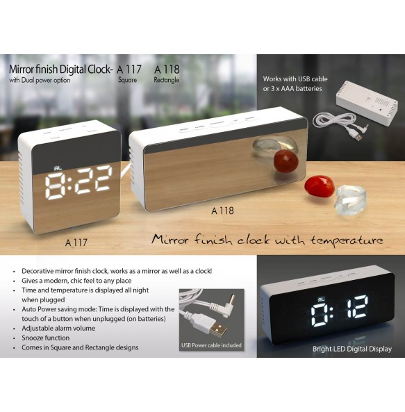MIRROR FINISH DIGITAL CLOCK (SQUARE) WITH DUAL POWER OPTION A117