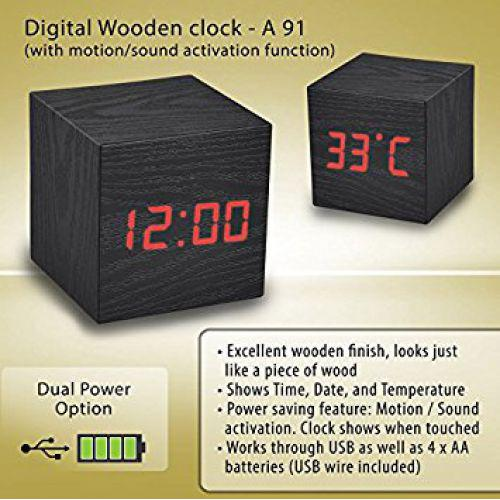 Wooden clock with motion/sound activation function