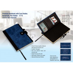 PREMIUM NOTEBOOK WITH CARD HOLDER, BOOKMARK, PEN HOLDER (CAN BE LASER ENGRAVED) B73