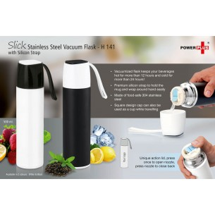 SLICK STAINLESS STEEL VACUUM FLASK WITH SILICON STRAP (500 ML) H141