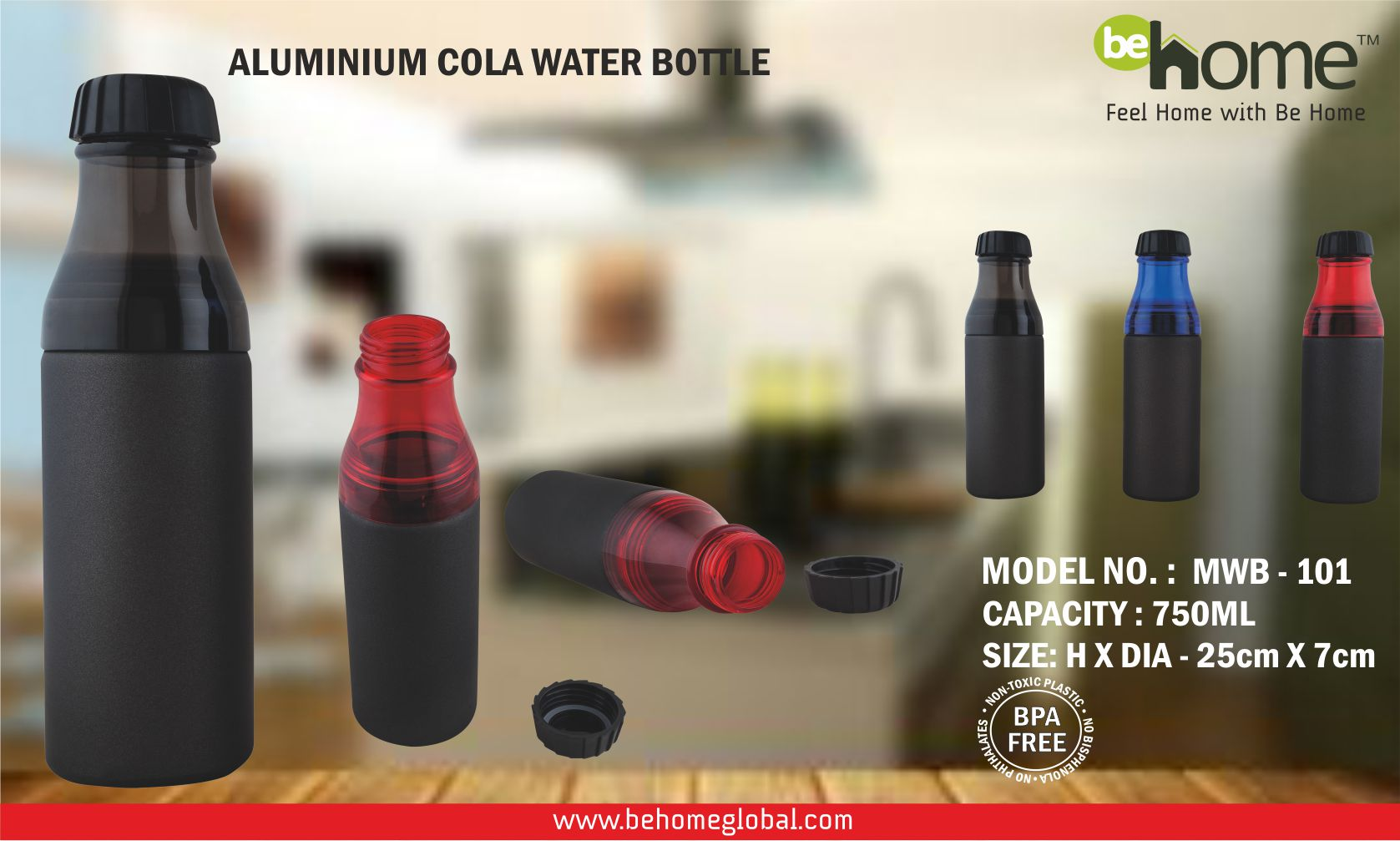 BeHome ALUMINIUM COLA WATER BOTTLE STURDY CONSTRUCTION MWB � 101