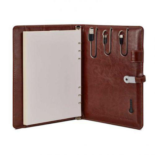 PROCTER - Leatherette Notebook Organiser With Powerbank - Brown