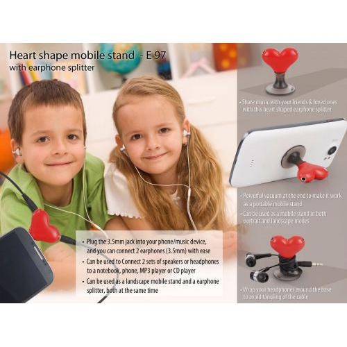 HEART SHAPE VACUUM MOBILE STAND WITH EARPHONE SPLITTER