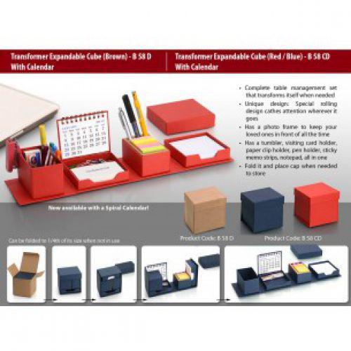 B58CD - TRANSFORMER EXPANDABLE CUBE WITH CALENDAR: COMPLETE DESK SET