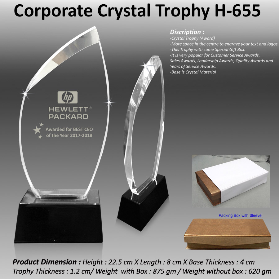 Corporate Crystal Trophy H-655