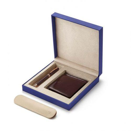 Contemporary Merlot Rose Gold Trims Ballpoint Pen With Savile Row Money Clip Wallet