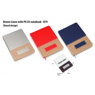 BROWN LINEN WITH PU A5 NOTEBOOK (BOXED DESIGN) B79