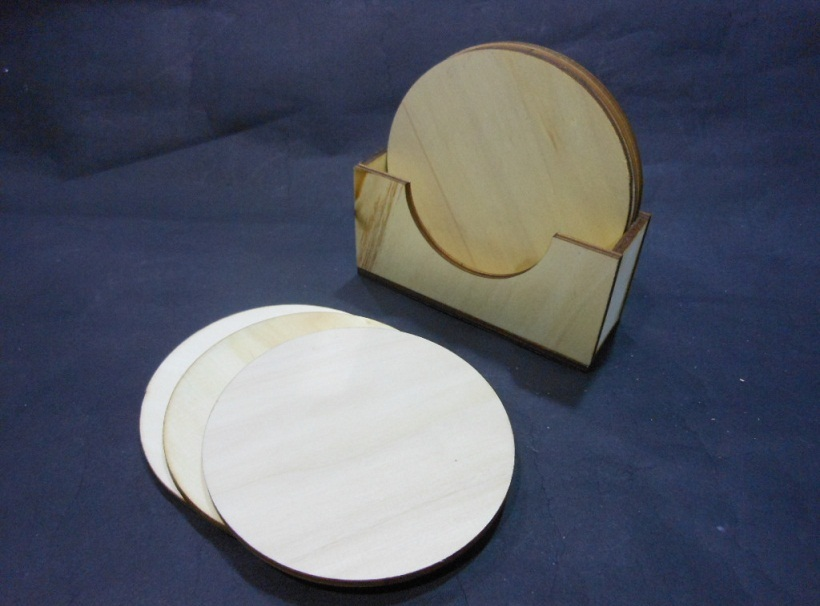 6PC ROUND WOODEN COASTER HA-109