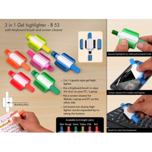 GEL HIGHLIGHTER WITH KEYBOARD BRUSH AND SCREEN CLEANER B53