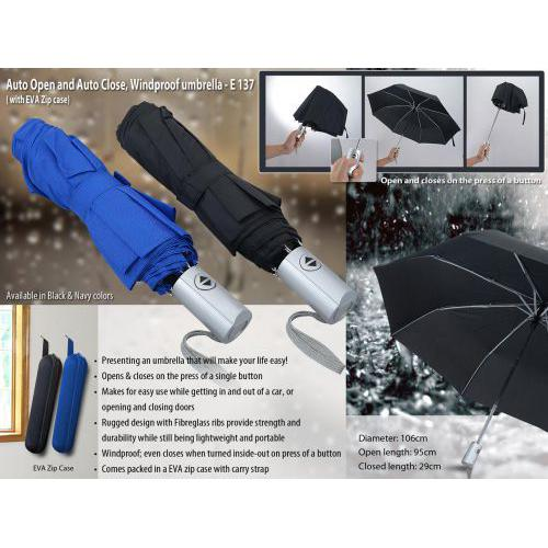 Auto Open and Auto close, Windproof umbrella with zipper case (compact 3 fold design)