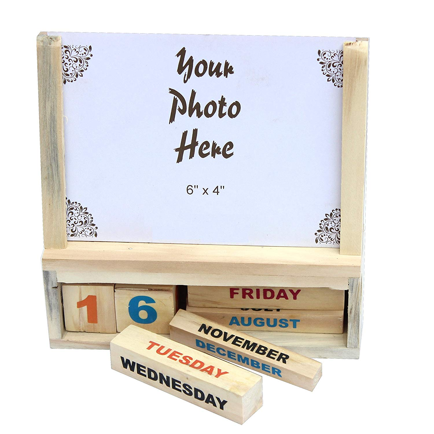 Wooden Photo Frame with Calendar Handmade Crafted Wooden Calendar with a Photo Frame Use For Home Of