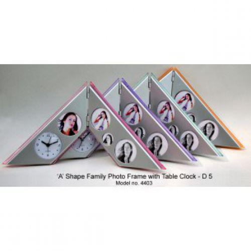 D05 - A-TYPE FAMILY PHOTO FRAME WITH TABLE CLOCK