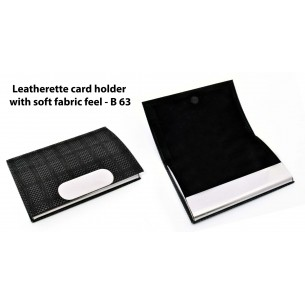 LEATHERETTE CARD HOLDER WITH SOFT FABRIC FEEL B63