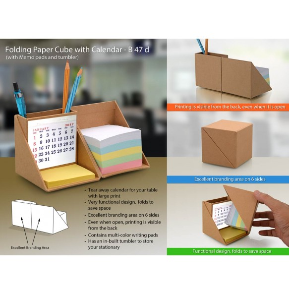 FOLDING WOODEN CUBE WITH CALENDAR (WITH MEMOPAD AND TUMBLER) B47D