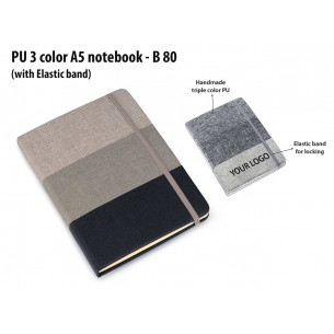 PU 3 COLOR A5 NOTEBOOK WITH ELASTIC FASTENER B80