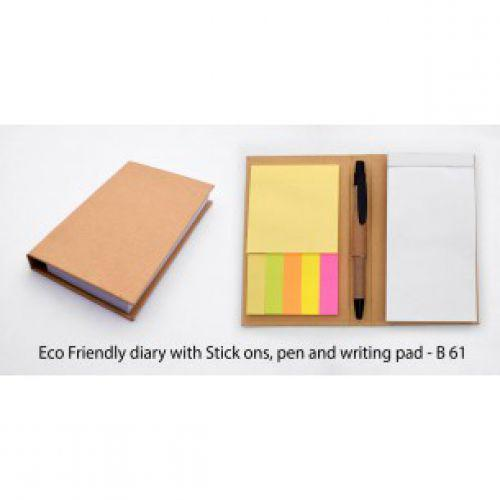 B61 - ECO FRIENDLY DIARY WITH STICK ONS, PEN AND WRITING PAD