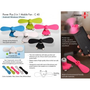 3 IN 1 MOBILE FAN: ANDROID/ WINDOWS/ IOS C40