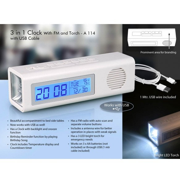 3 IN 1 CLOCK WITH FM AND TORCH WITH DUAL POWER OPTION (WITH USB WIRE)  A114