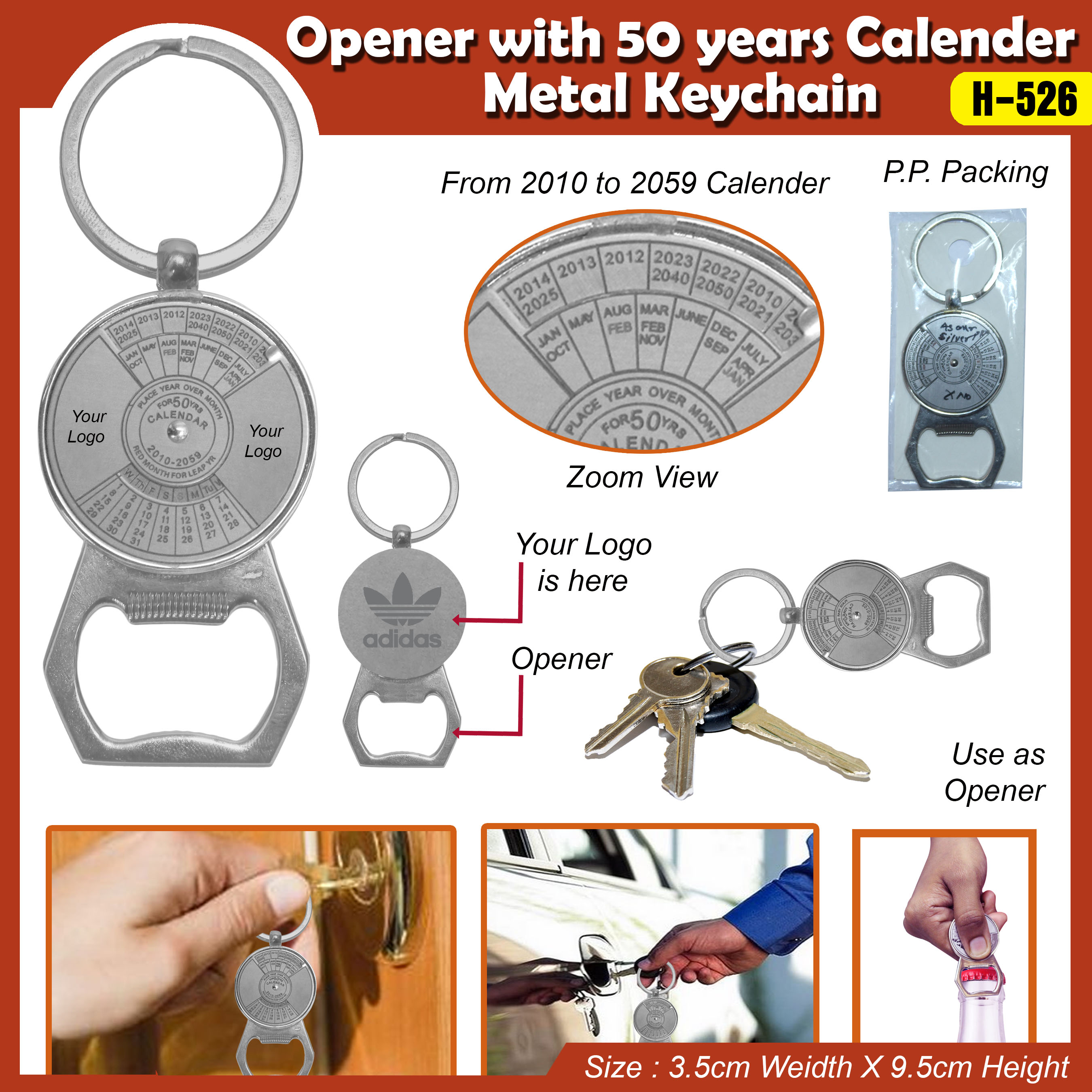 Opener With 50yrs Calendar Keychain H-526