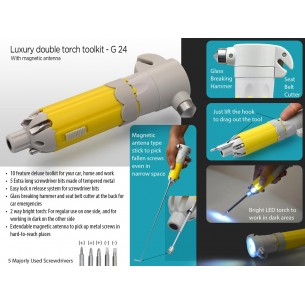 G24 - LUXURY DOUBLE TORCH TOOLKIT WITH MAGNETIC ANTENNA