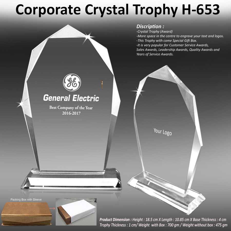 Corporate Crystal Trophy H-653