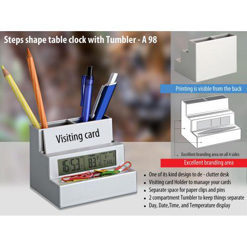 Steps shape table clock (with tumbler and visiting