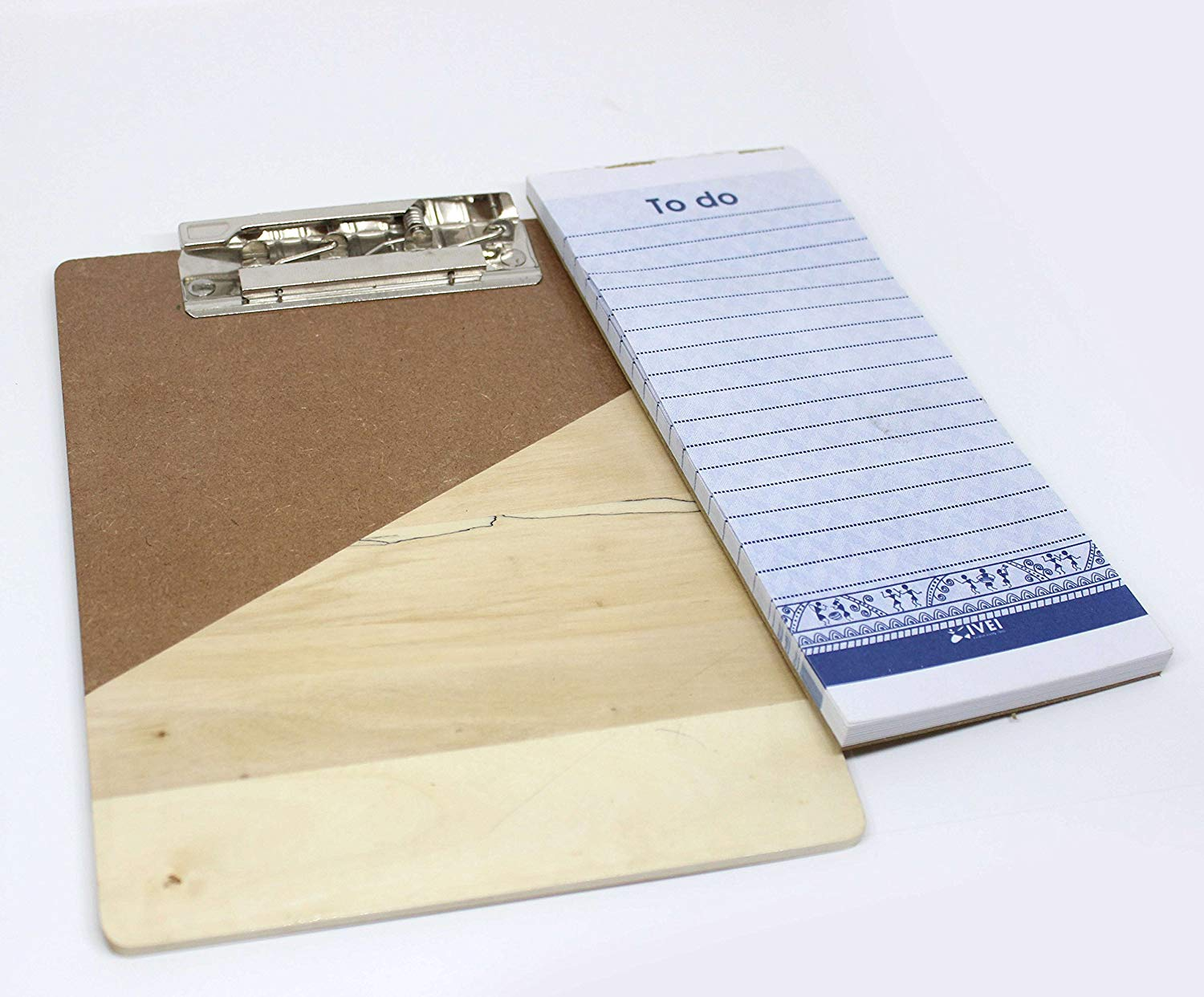 Wooden clip pad for your desk - memo pad with 50 sheets included - a5 size