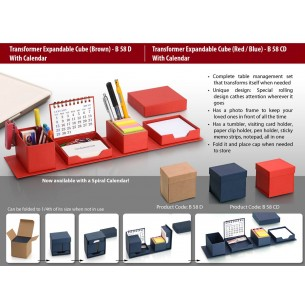 TRANSFORMER EXPANDABLE CUBE WITH CALENDAR: COMPLETE DESK SET B58CD