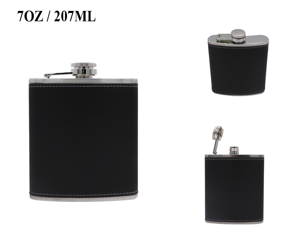 7OZ LEATHER HIP FLASK HA-136