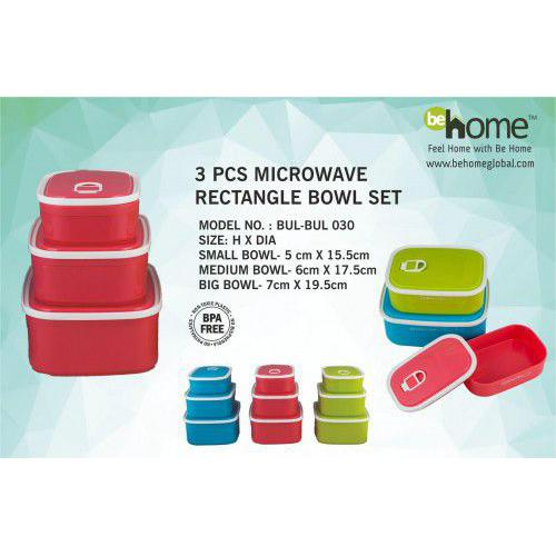 BeHome Microwave Rectangle Bowl Sets BUL-BUL-030